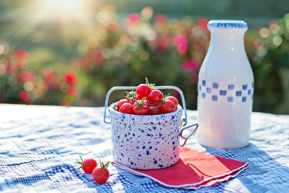 Image shows organic cherry tomatoes and home made yogurt served for breakfast.
