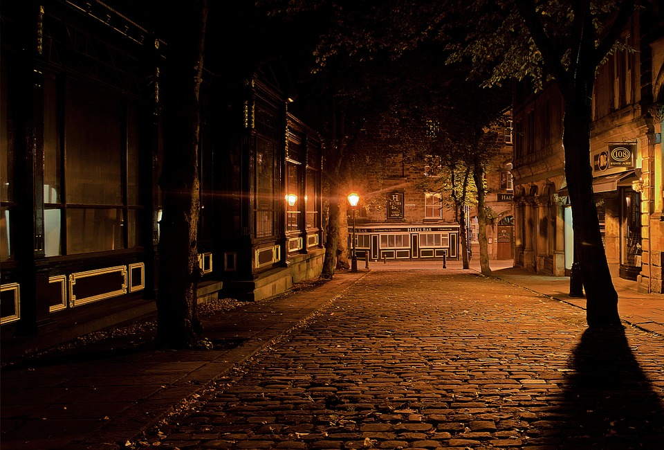The image shows empty, small town streets that always seem safe and welcoming.