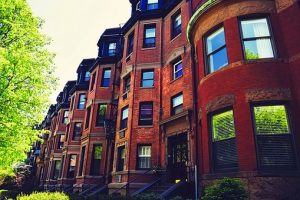 Famous Bostonian red-brick buildings.