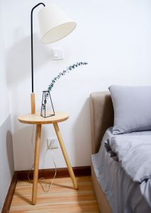 A two legged side table.