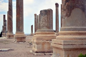 Ancient ruins in Lebanon, represented by pillars.