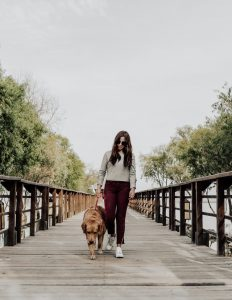 A young woman and a dog walking  - a usual sight after moving to the US with pets