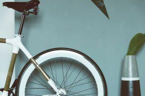 A wheel of a bike.