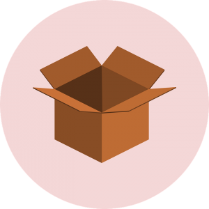 A drawing of an open cardboard box.