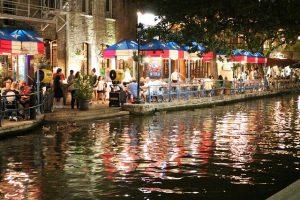 Riverwalk in San Antonio by night.