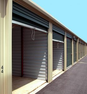 Outside storage units.
