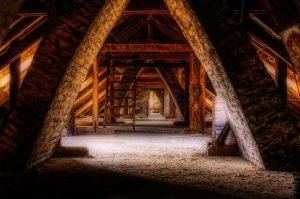 Rustic unfinished attic.