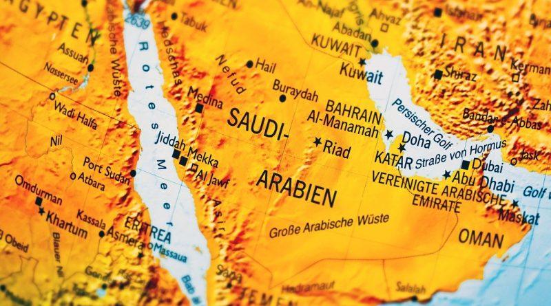 Colorful map of Saudi Arabia.