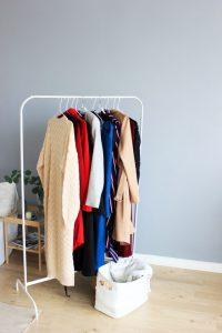 A standing open wardrobe