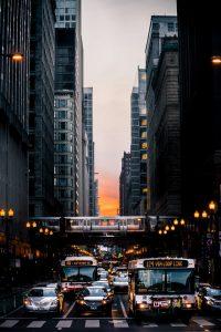 Chicago street traffic view.