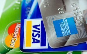 Visa, Master Card, and American Express credit cards.