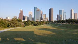 Houston skyline and the park.