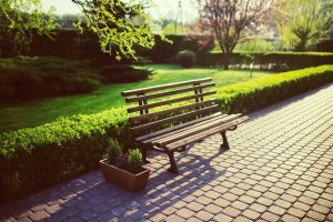 There is a bench in a nice park- an agreeable atmosphere which is one of the reasons to move to Bloomfield, NJ.