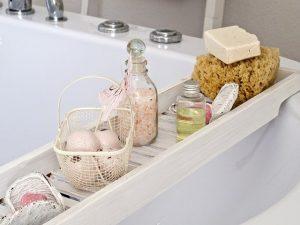 Bathroom items on a bathtub