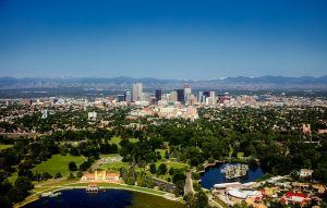 Denver with the surrounding area and the suburbs.