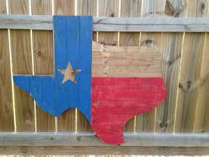 State Texas made of wood.