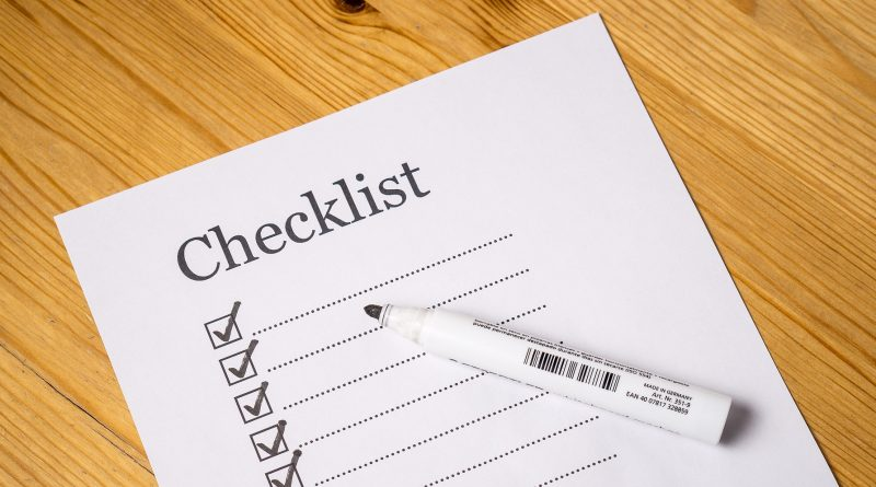 packing guide checklist