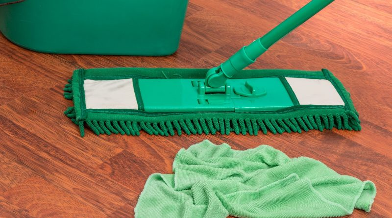 A mop and a cleaning cloth on a wooden floor