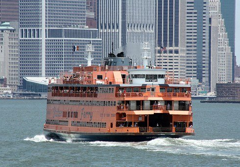 Staten Island ferry going towards Manhattan.