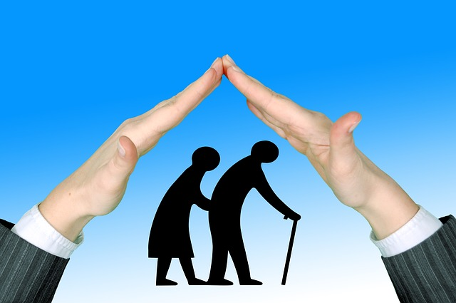 An illustration of a person making a roof with the hands while trying to protect the aging parents.