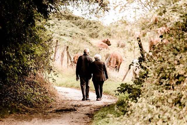 A senior couple walking down the path and thinking abiut the best cities to retire in New Mexico.