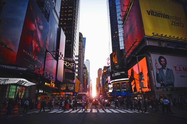 Manhattan street in sunset.