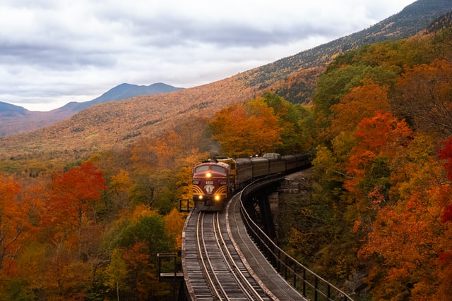 Train on a railway in New Hampshire.