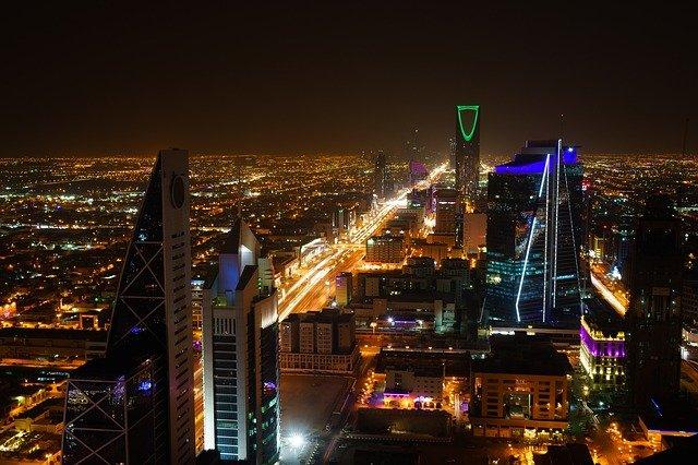 A KSA city at night.