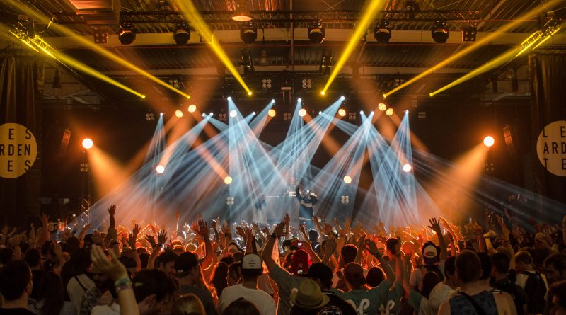 big music stage with audience and lights