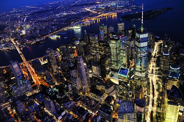 NYC from above at night.