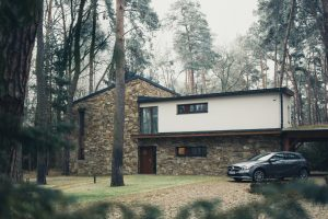 brick house in the woods