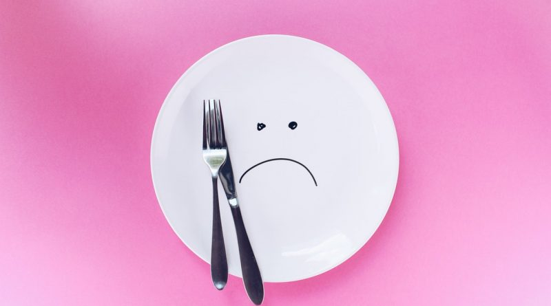 A plate with a sad face painted