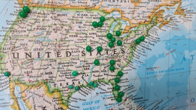 a map of America, read about moving in Bethesda